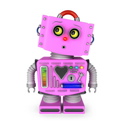 Pink toy robot girl over white background is looking surprised up in the air