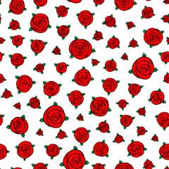 red hand drawn cartoon rose flowers
