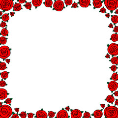 red hand drawn cartoon rose flowers with empty space
