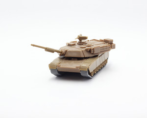 M1 Abrams toy on white background