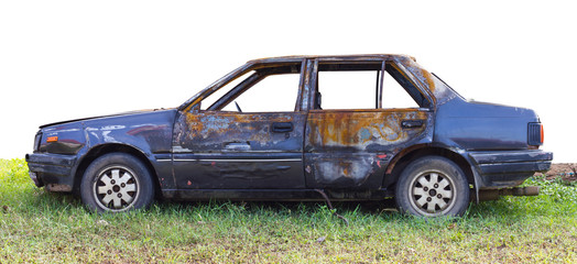 .Body saloon car which was on fire.