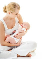 Young mother with a charming baby.Happy cheerful family. isolate