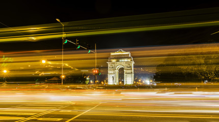 Light trails and Gateway of India in background