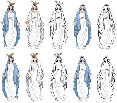 Vector illustrations of the Virgin Mary