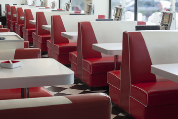 seating booth details in american diner restaurant, shallow DOPF