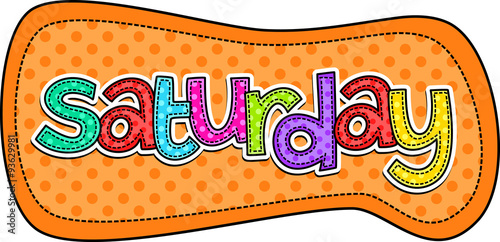 """""""Saturday Stitch Text Label"""" Stock photo and royalty-free ..."""