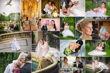 Collage of wedding photos