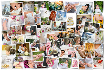 Collage of many wedding photos