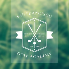 Golf Academy vintage white logo, emblem with golf clubs, vector illustration