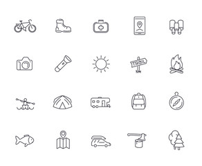 Hiking, Camping, Trekking, Adventure line icons pack