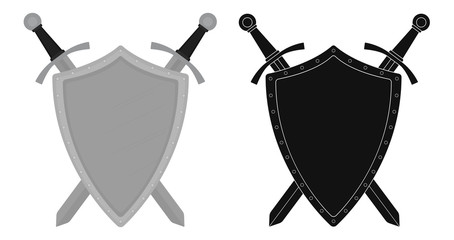 Two crossed swords steel shield emblem. Color. Silhouette