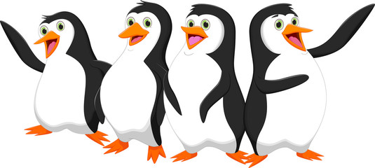 four cute cartoon penguin