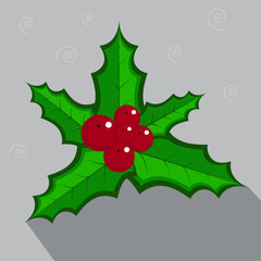Holly berry. Christmas symbol