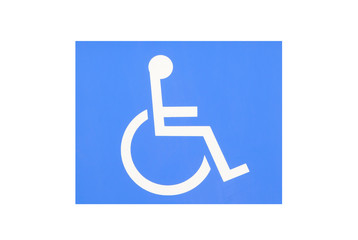 Blue handicap parking or wheelchair parking space sign..