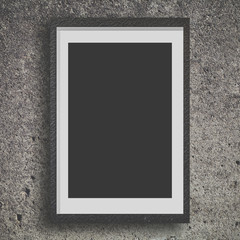 Black wood frame on concrete wall background