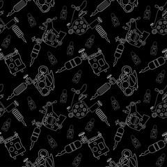 Tattoo machines and ink pattern. Black and white