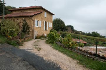 Les vignes à l ' automne , maison en  Beaujolais , rhône