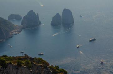 Busy bay off the Isle of Capri.