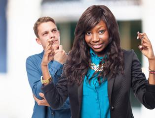 happy black-woman crossing fingers