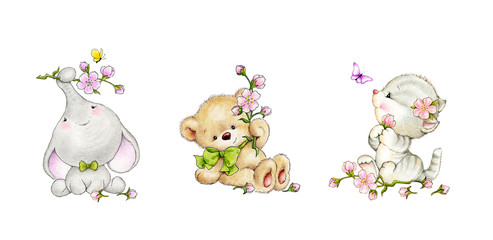 Set of animals- elephant, kitten, bear