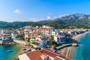 A view of Kokkari village and beautiful coast of Samos island, Greece
