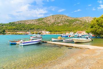 Fishing boats on sea water in Posidonio bay, Samos island, Greece