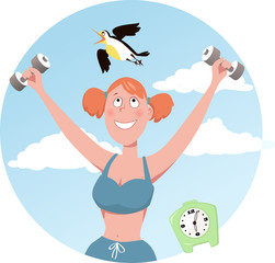 Morning bird. Smiling woman doing working out, a lark flying over her head, EPS 8 vector illustration, no transparencies