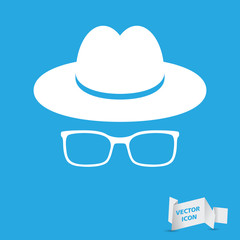 white hat with glasses on a blue background