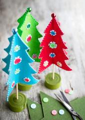 colorful Felt Christmas trees