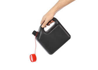 Hand with plastic jerrycan