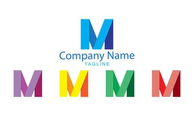 Letter Logo Vector - M Folds Flat Design