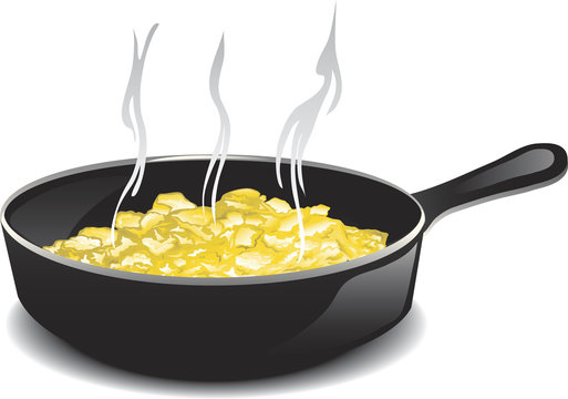 Illustration of a hot frying pan of scrambled eggs.