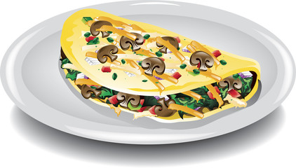 Illustration of a breakfast omelet filled with vegetables.
