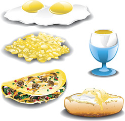 Illustration of five different egg dishes and omelets.