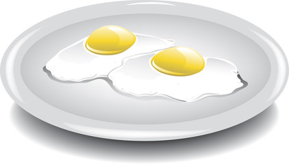 Illustration of two eggs over easy on a plate.