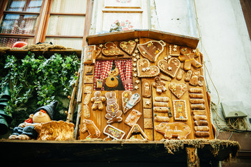 Traditional Alsatian biscuits on a building facade in Strasbourg
