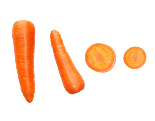 Fresh and sweet carrot isolated on white background..