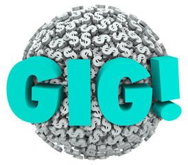Gig Temporary Work Freelance Job Income Dollar Signs