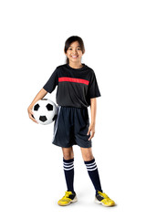 Young asian girl holding soccer ball, Isolated over white