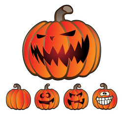 Halloween Holiday Pumpkin Jack O' Lantern Vector Illustration Set