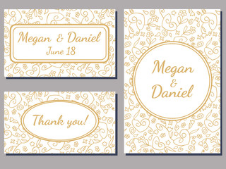 set of wedding cards with a curly golden ornate over white background
