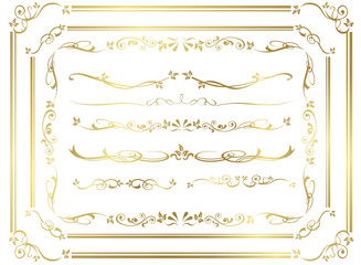 decorative gold frame set Vector