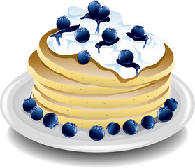 Illustration of blueberry pancakes with whipped cream.