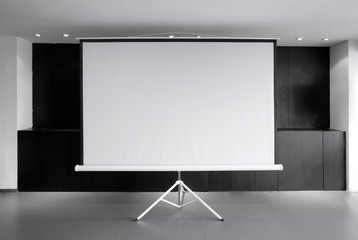Blank whiteboard in conference room