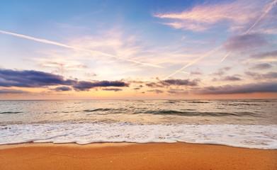Beautiful sunset, sunrise sea horizon.