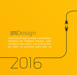 2016 - New year. Abstract line vector illustration with wire plug and socket. Concept of connection, new business, start up. Flat design.