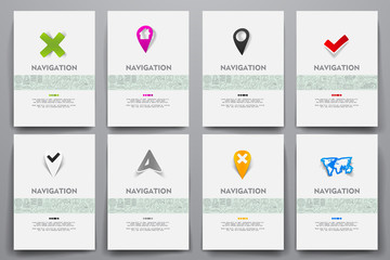 Corporate identity vector templates set with doodles navigation