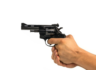 hand holding a gun on a white background