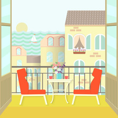 view from the balcony over the town and sea. flat vector illustration