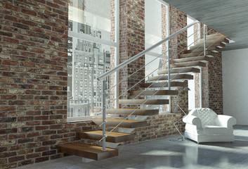 Scala con trave lineare gradini in legno e parapetto in acciaio